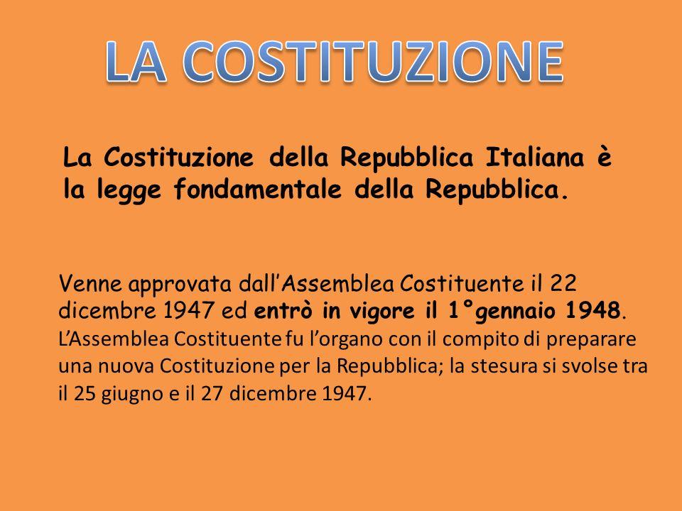 LA COSTITUZIONE La Costituzione della Repubblica Italiana è la legge fondamentale della Repubblica.