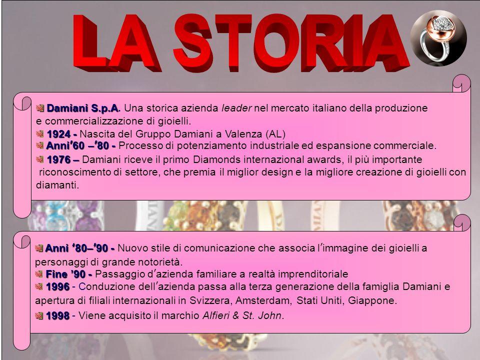 LA STORIA Damiani S.p.A. Una storica azienda leader nel mercato italiano della produzione. e commercializzazione di gioielli.