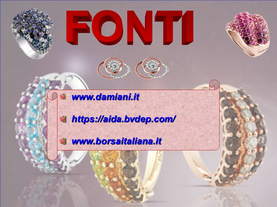 FONTI www.damiani.it https://aida.bvdep.com/ www.borsaitaliana.it