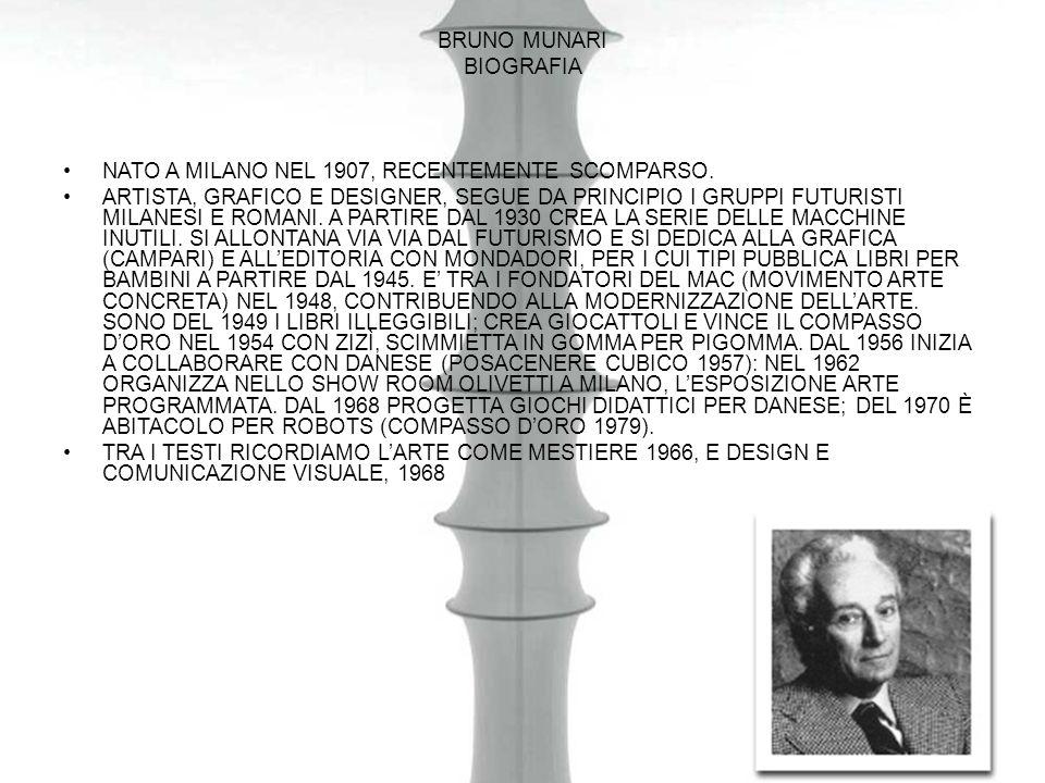 Bruno munari biografia. NATO A MILANO NEL 1907, RECENTEMENTE SCOMPARSO.