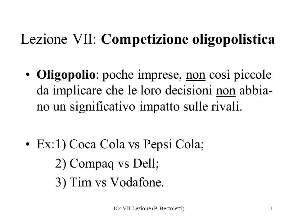 Lezione VII: Competizione oligopolistica