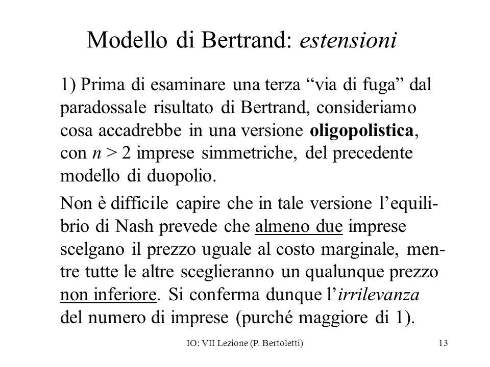 Modello di Bertrand: estensioni