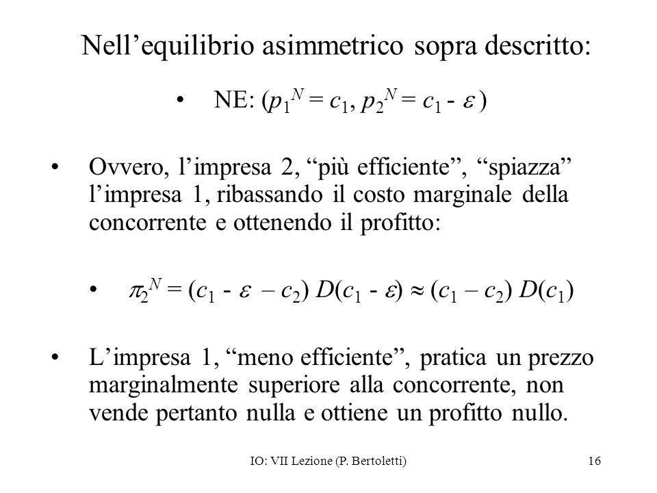 Nell'equilibrio asimmetrico sopra descritto: