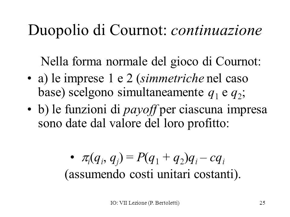 Duopolio di Cournot: continuazione