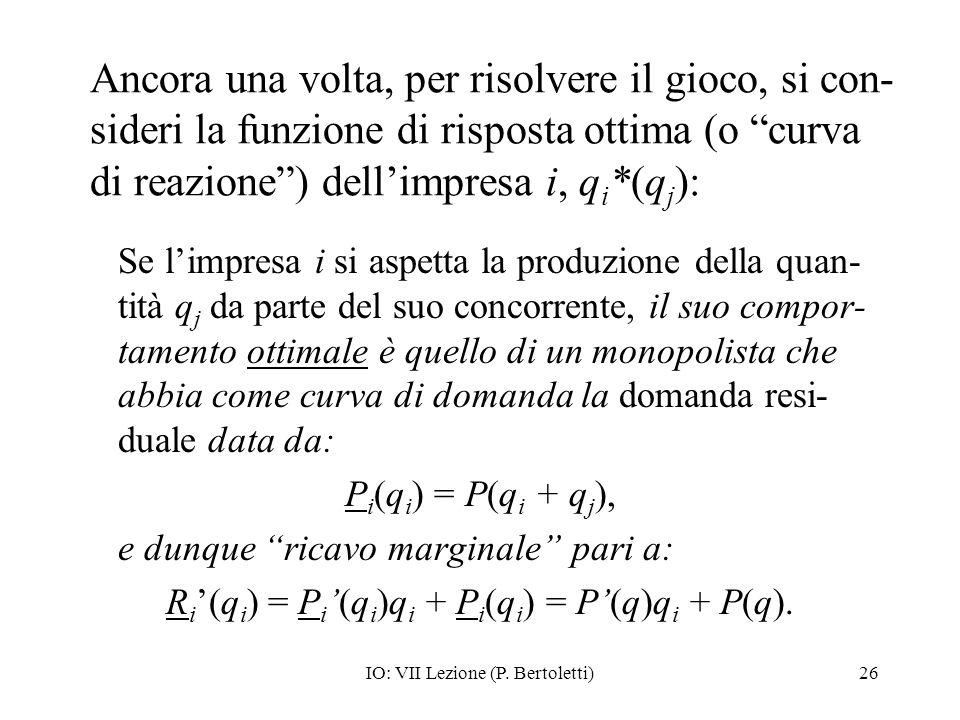 Ancora una volta, per risolvere il gioco, si con-sideri la funzione di risposta ottima (o curva di reazione ) dell'impresa i, qi*(qj):
