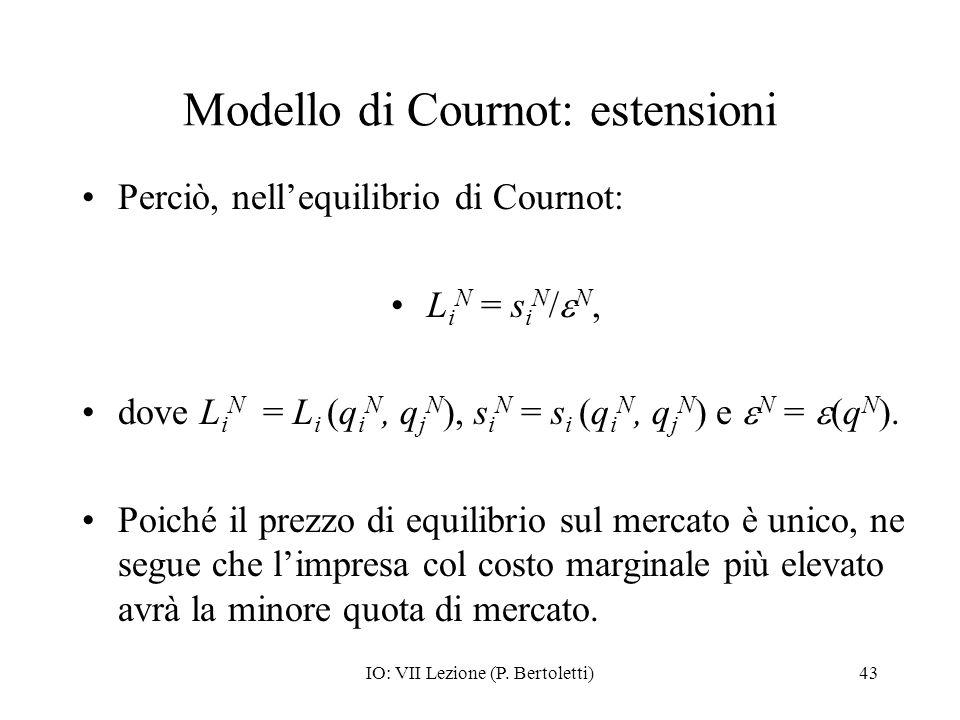 Modello di Cournot: estensioni