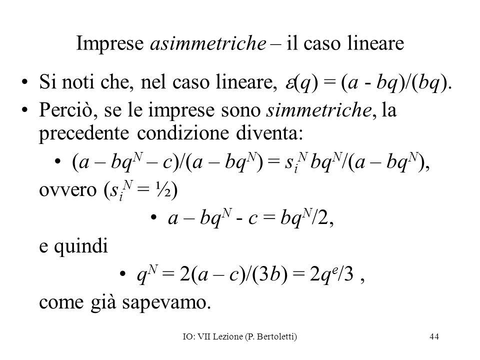 Imprese asimmetriche – il caso lineare