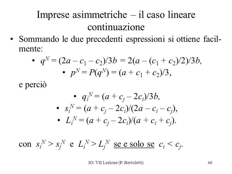 Imprese asimmetriche – il caso lineare continuazione