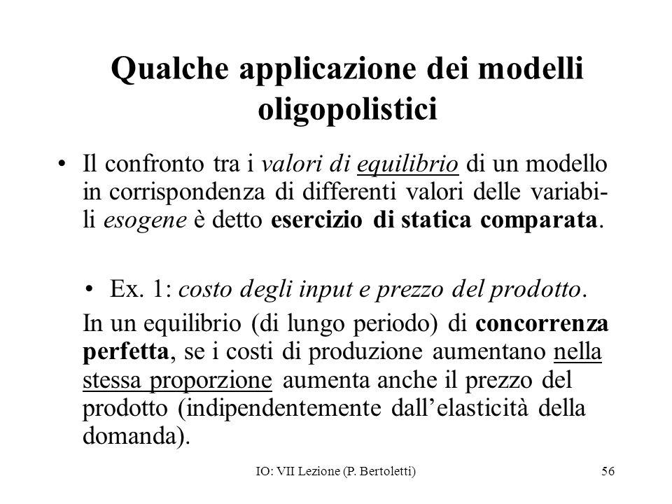 Qualche applicazione dei modelli oligopolistici