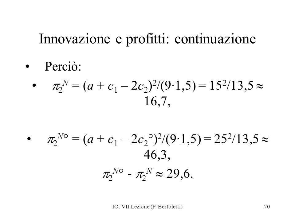 Innovazione e profitti: continuazione
