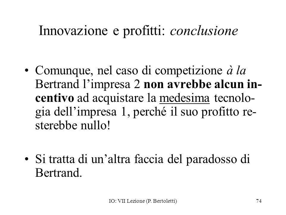 Innovazione e profitti: conclusione