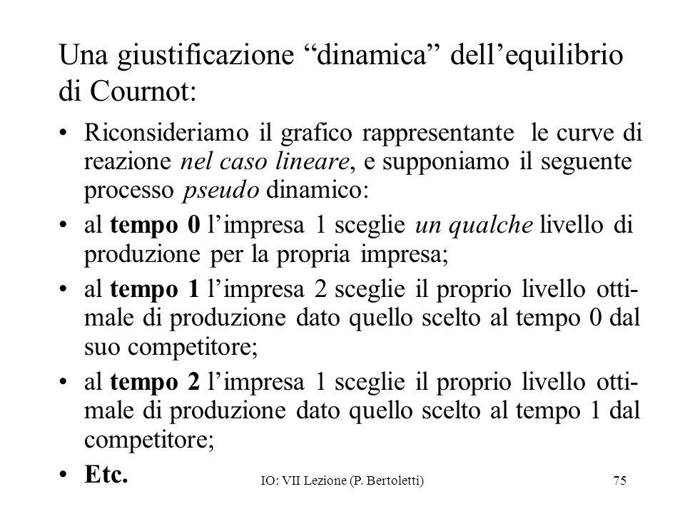 Una giustificazione dinamica dell'equilibrio di Cournot: