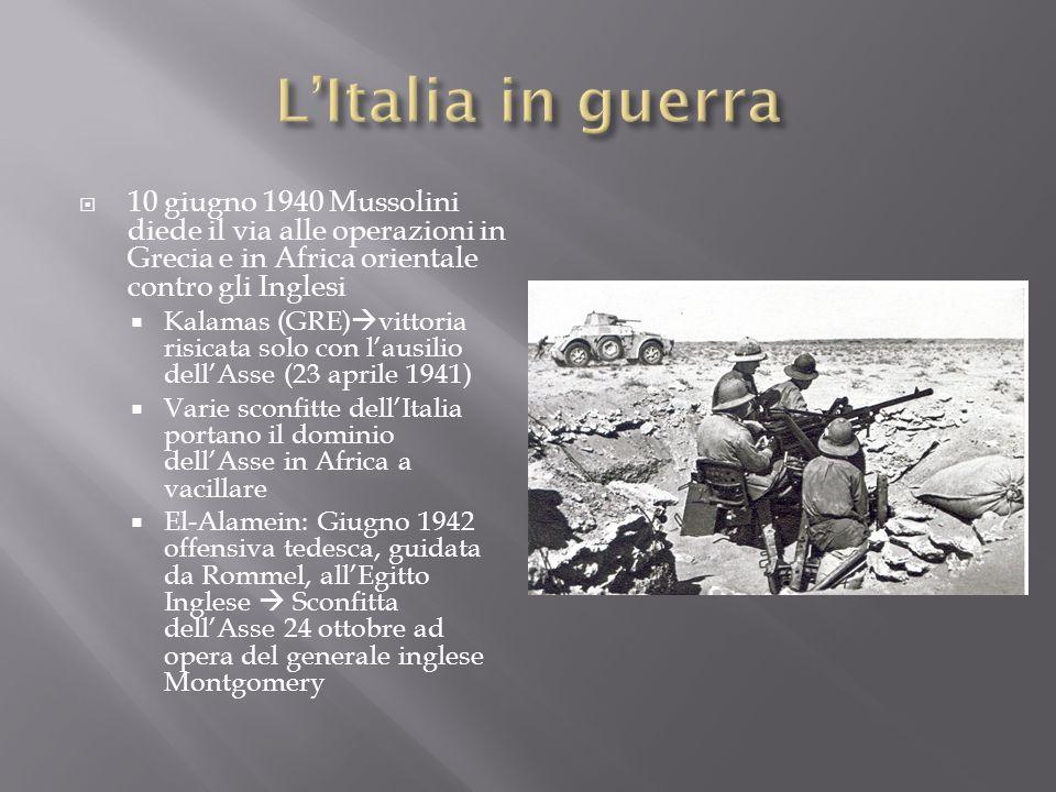 L'Italia in guerra 10 giugno 1940 Mussolini diede il via alle operazioni in Grecia e in Africa orientale contro gli Inglesi.