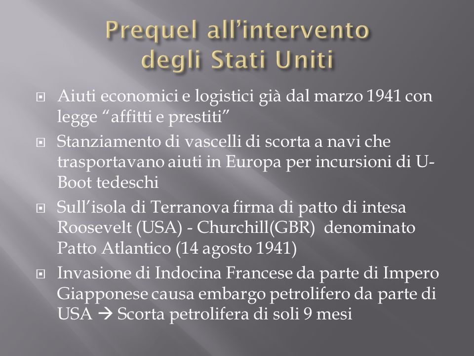 Prequel all'intervento degli Stati Uniti