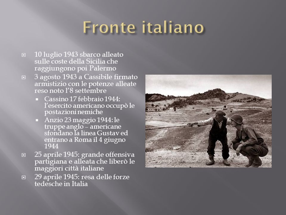 Fronte italiano 10 luglio 1943 sbarco alleato sulle coste della Sicilia che raggiungono poi Palermo.