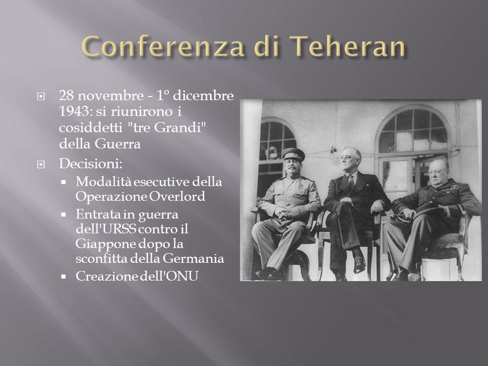 Conferenza di Teheran 28 novembre - 1º dicembre 1943: si riunirono i cosiddetti tre Grandi della Guerra.