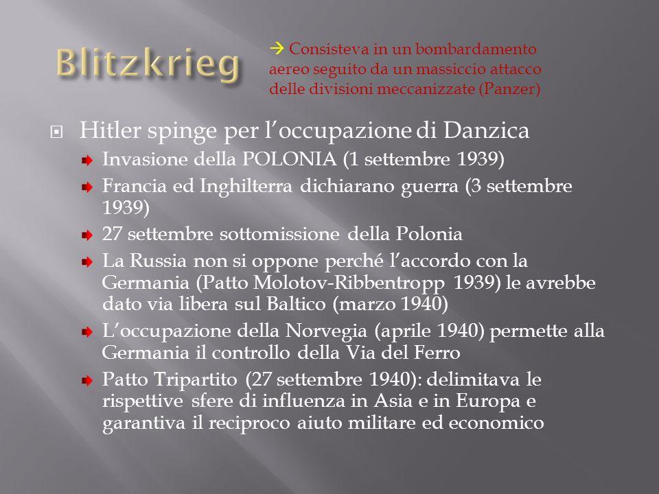 Blitzkrieg Hitler spinge per l'occupazione di Danzica