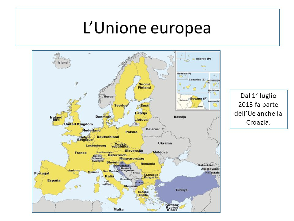 Dal 1° luglio 2013 fa parte dell'Ue anche la Croazia.