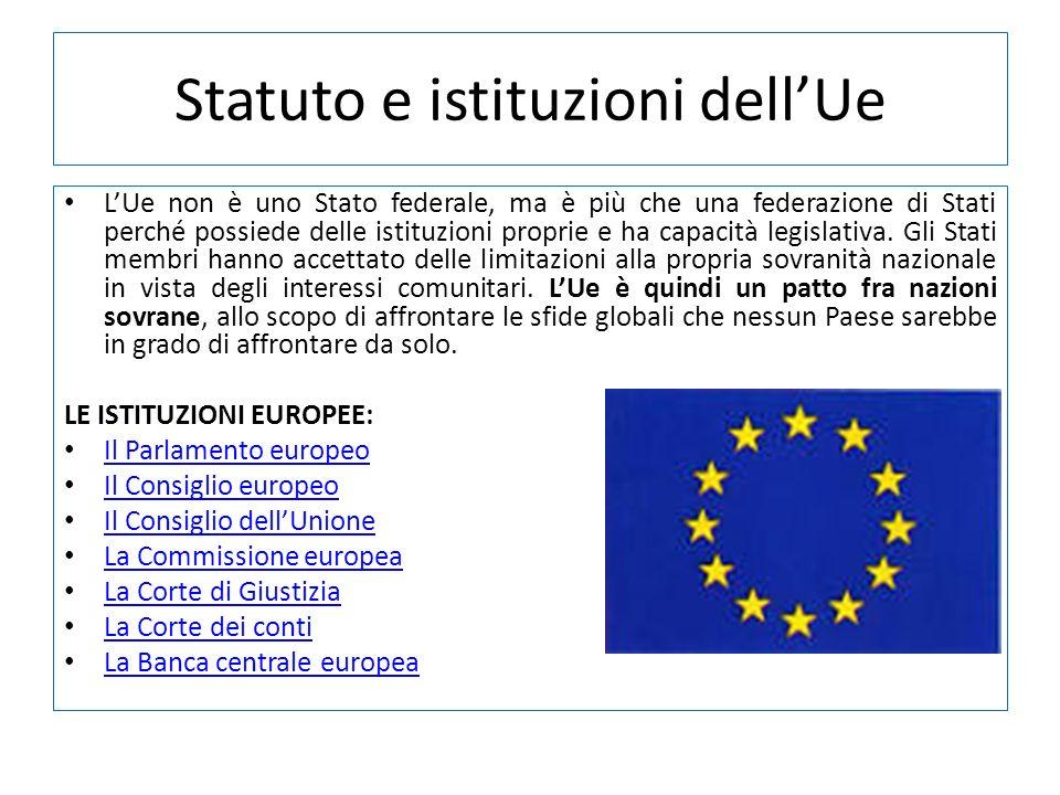 Statuto e istituzioni dell'Ue