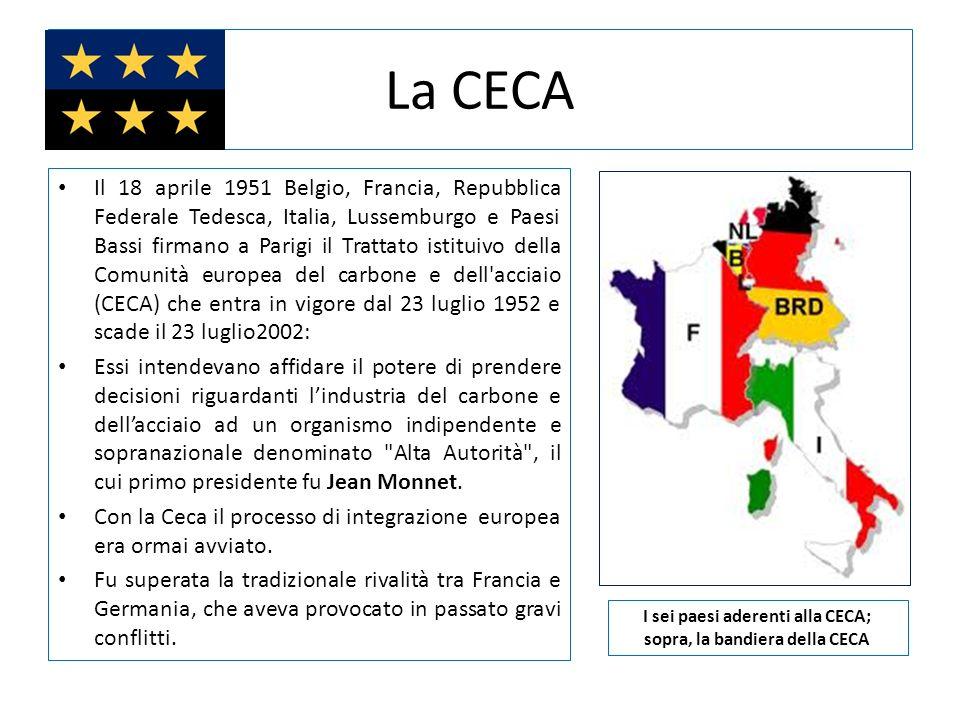 I sei paesi aderenti alla CECA; sopra, la bandiera della CECA