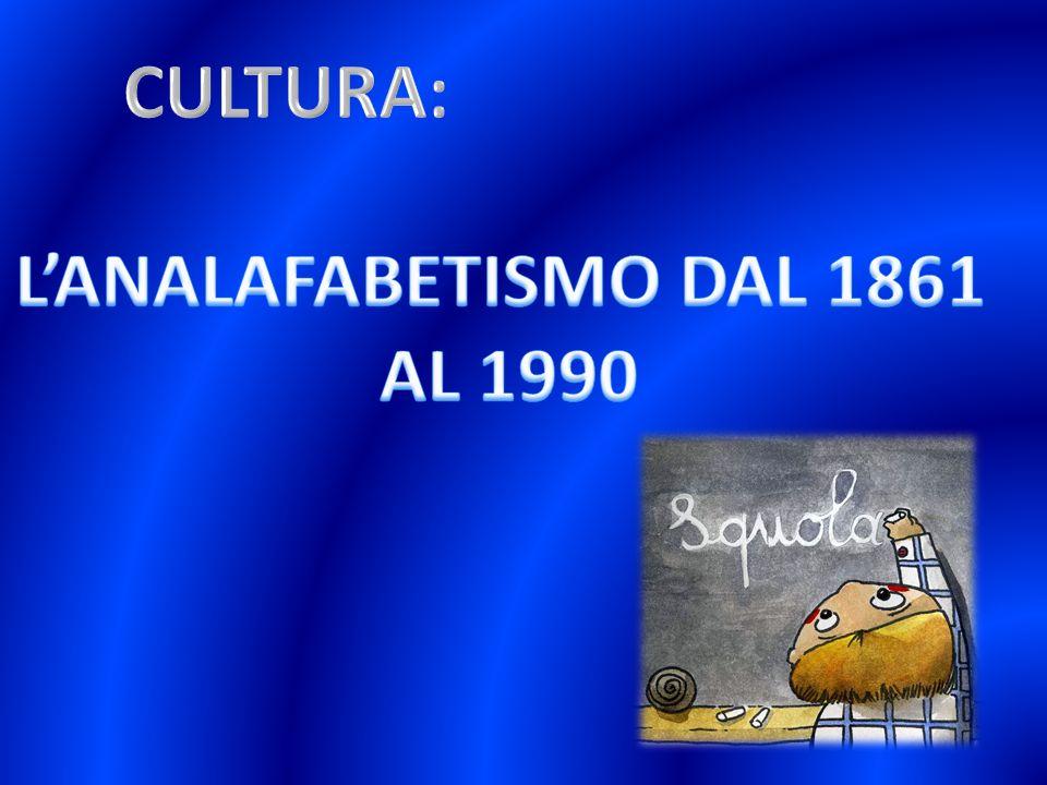 CULTURA: L'ANALAFABETISMO DAL 1861 AL 1990