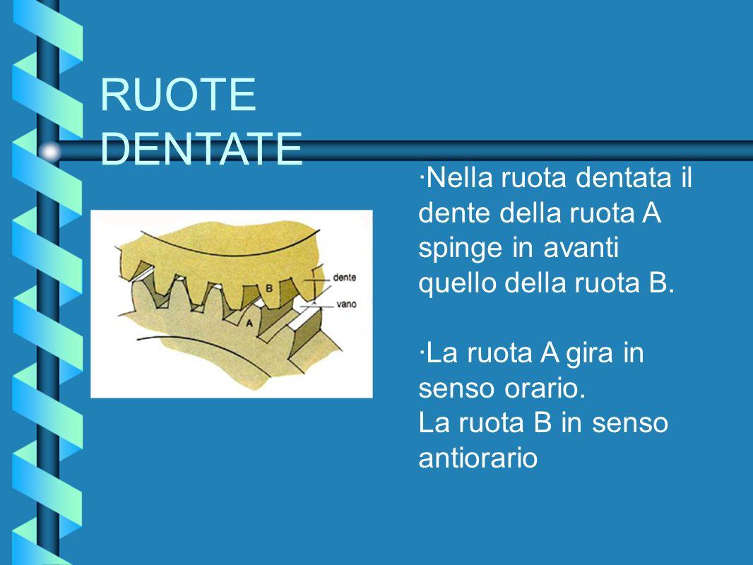 RUOTE DENTATE ·Nella ruota dentata il dente della ruota A spinge in avanti quello della ruota B.
