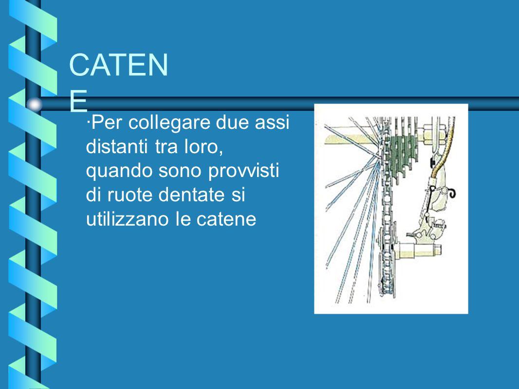 CATENE ·Per collegare due assi distanti tra loro, quando sono provvisti di ruote dentate si utilizzano le catene.