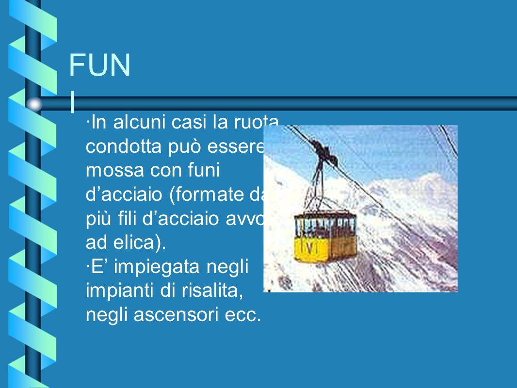 FUNI ·In alcuni casi la ruota condotta può essere mossa con funi d'acciaio (formate da più fili d'acciaio avvolti ad elica).