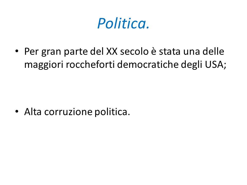 Politica. Per gran parte del XX secolo è stata una delle maggiori roccheforti democratiche degli USA;