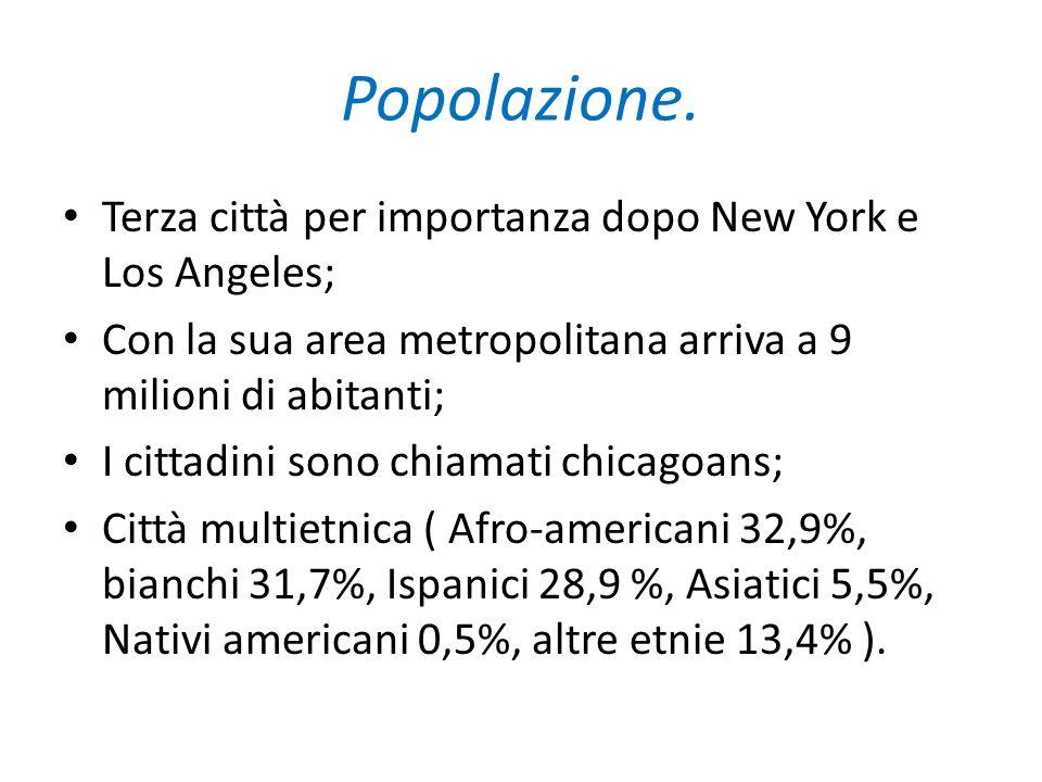 Popolazione. Terza città per importanza dopo New York e Los Angeles;