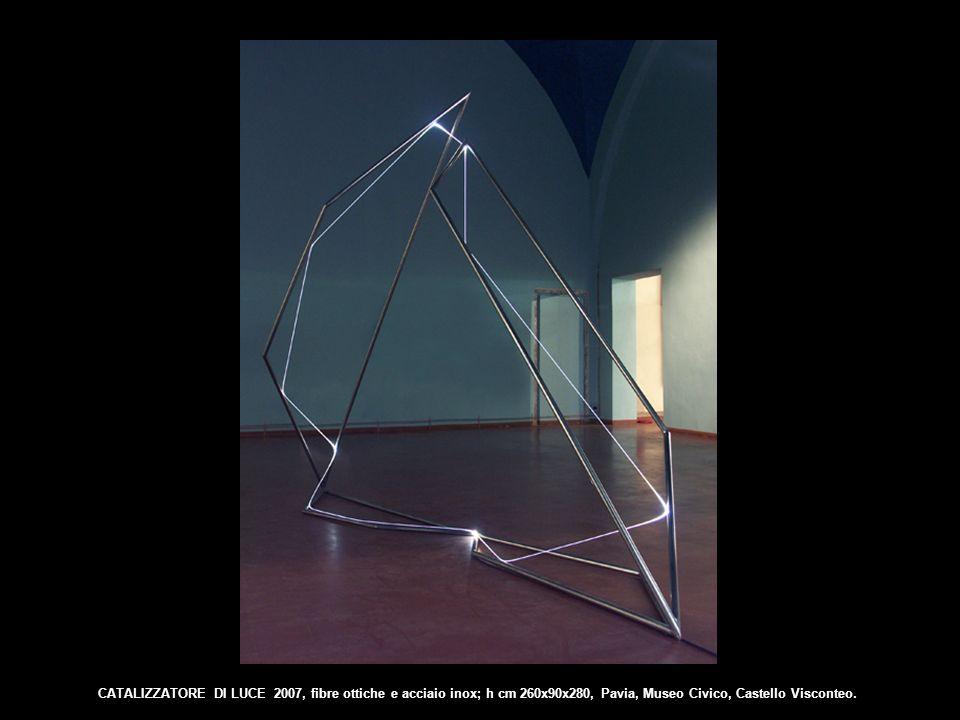 CATALIZZATORE DI LUCE 2007, fibre ottiche e acciaio inox; h cm 260x90x280, Pavia, Museo Civico, Castello Visconteo.