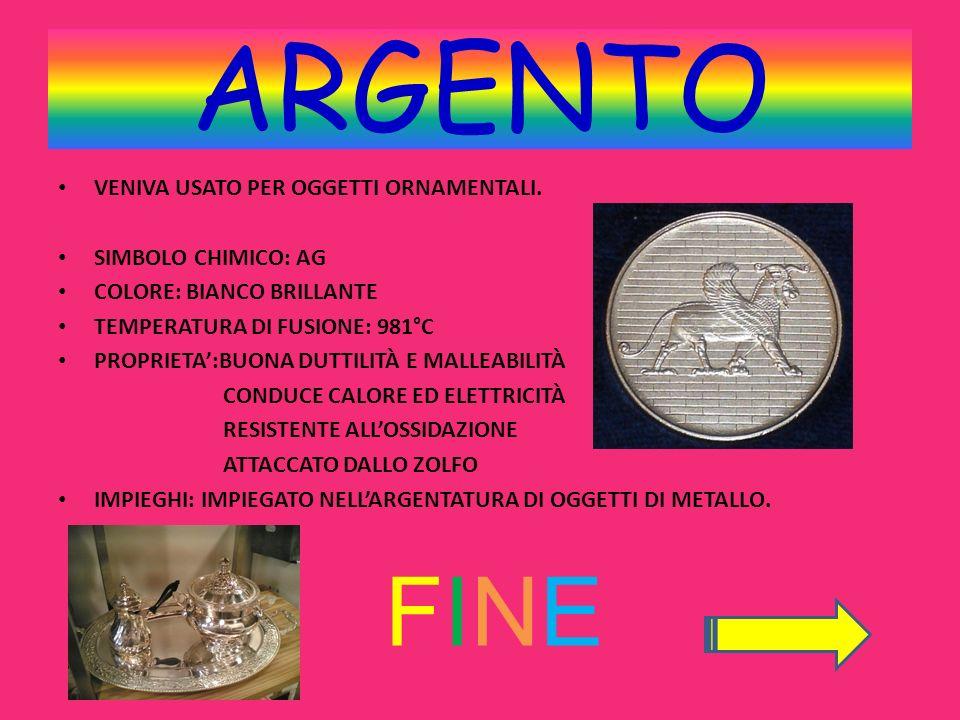 ARGENTO FINE VENIVA USATO PER OGGETTI ORNAMENTALI. Simbolo chimico: AG