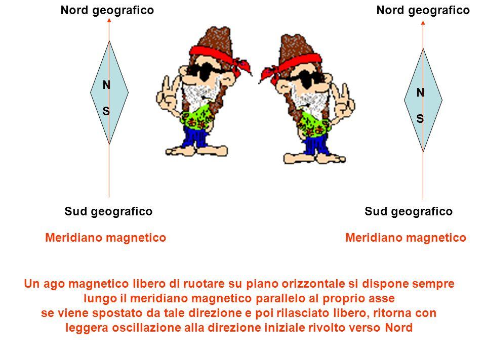 Nord geografico Nord geografico. N. S. N. S. Sud geografico. Sud geografico. Meridiano magnetico.