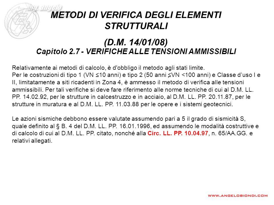 METODI DI VERIFICA DEGLI ELEMENTI STRUTTURALI (D.M. 14/01/08)