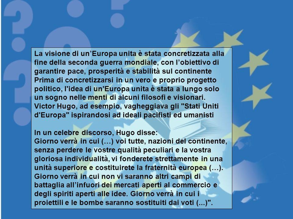 La visione di un'Europa unita è stata concretizzata alla fine della seconda guerra mondiale, con l'obiettivo di garantire pace, prosperità e stabilità sul continente