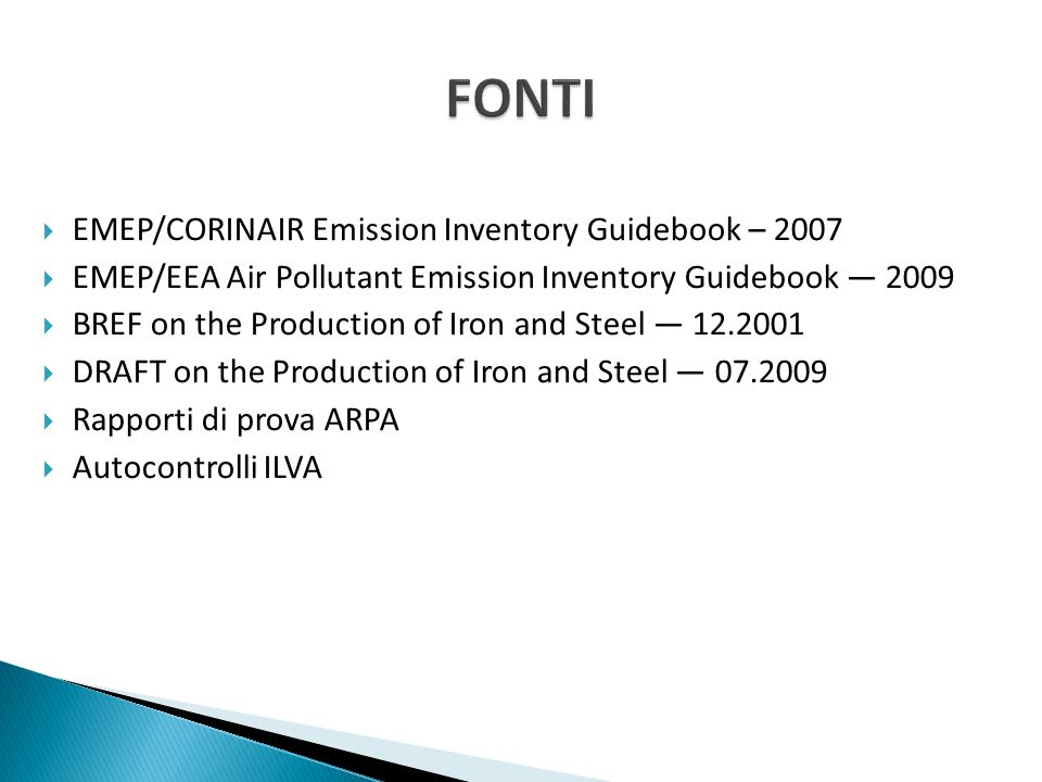 FONTI EMEP/CORINAIR Emission Inventory Guidebook – 2007