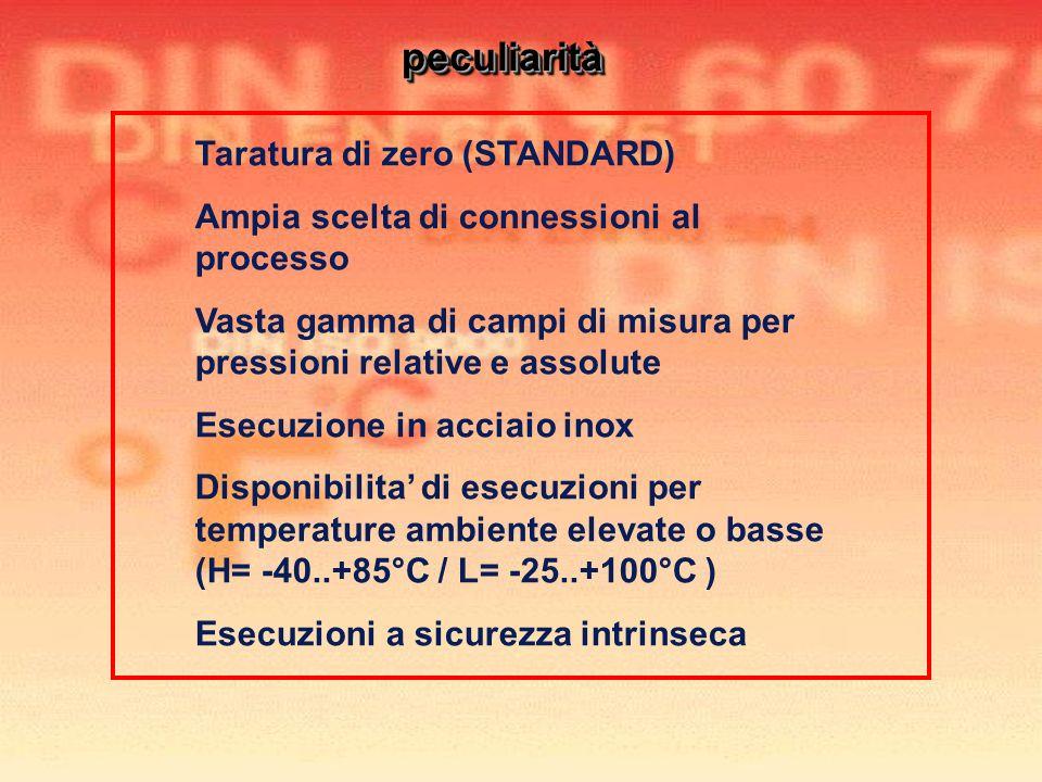 peculiarità Taratura di zero (STANDARD)