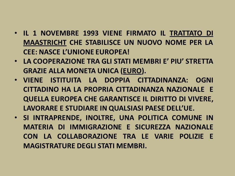 IL 1 NOVEMBRE 1993 VIENE FIRMATO IL TRATTATO DI MAASTRICHT CHE STABILISCE UN NUOVO NOME PER LA CEE: NASCE L'UNIONE EUROPEA!