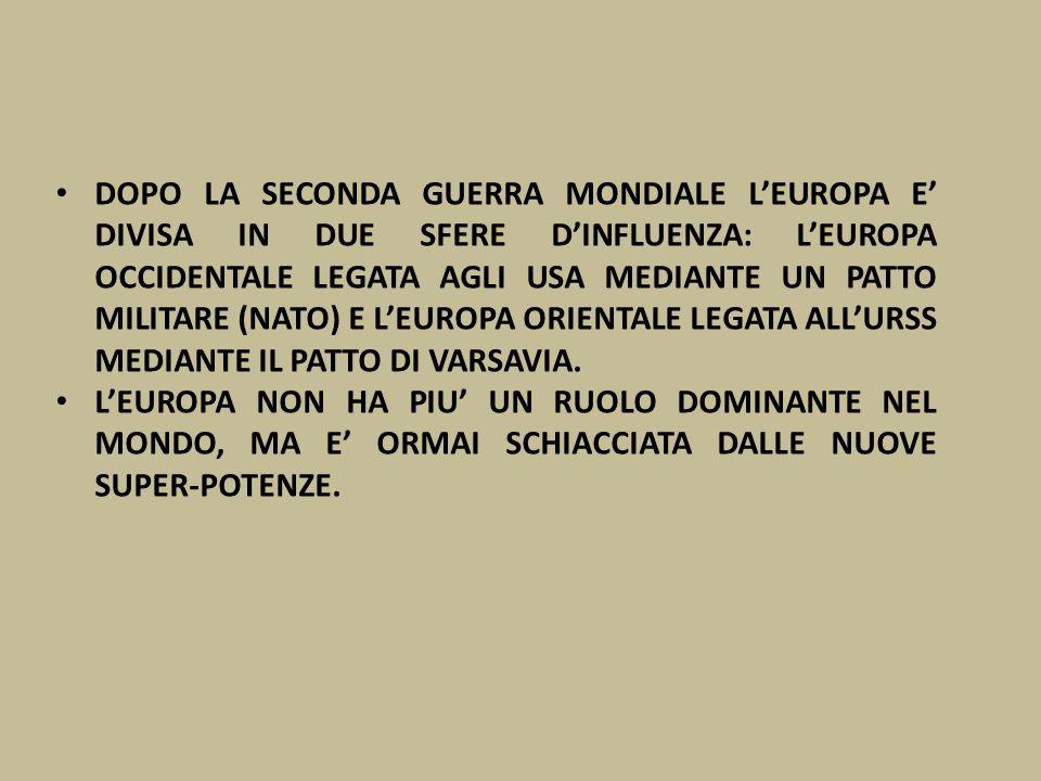 DOPO LA SECONDA GUERRA MONDIALE L'EUROPA E' DIVISA IN DUE SFERE D'INFLUENZA: L'EUROPA OCCIDENTALE LEGATA AGLI USA MEDIANTE UN PATTO MILITARE (NATO) E L'EUROPA ORIENTALE LEGATA ALL'URSS MEDIANTE IL PATTO DI VARSAVIA.