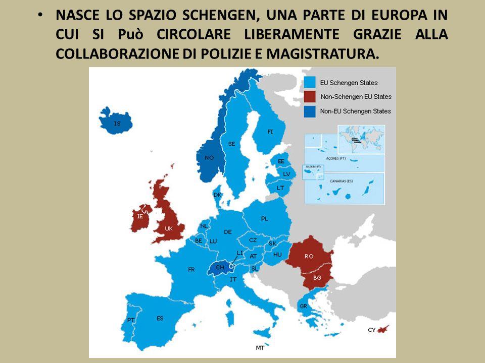NASCE LO SPAZIO SCHENGEN, UNA PARTE DI EUROPA IN CUI SI Può CIRCOLARE LIBERAMENTE GRAZIE ALLA COLLABORAZIONE DI POLIZIE E MAGISTRATURA.