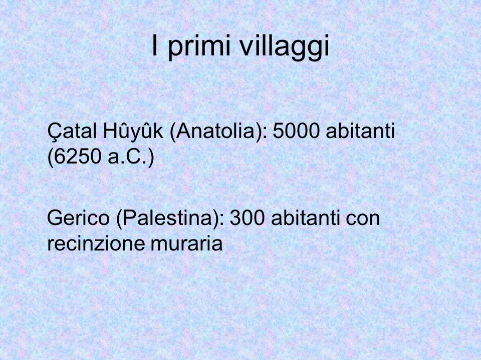 I primi villaggi Çatal Hûyûk (Anatolia): 5000 abitanti (6250 a.C.)