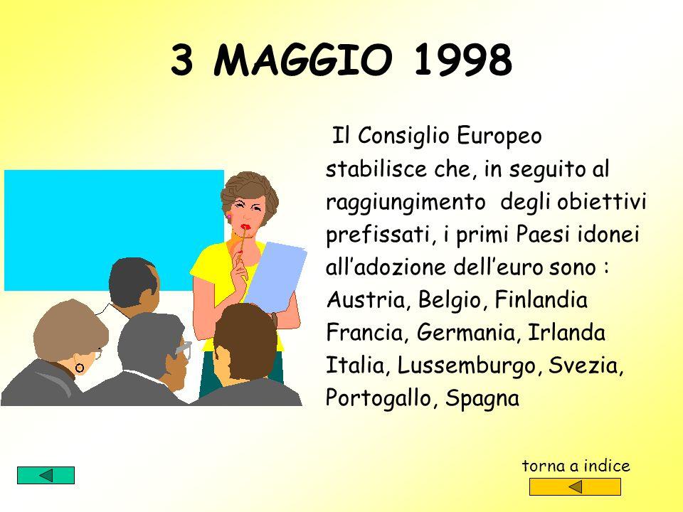 3 MAGGIO 1998 Il Consiglio Europeo stabilisce che, in seguito al
