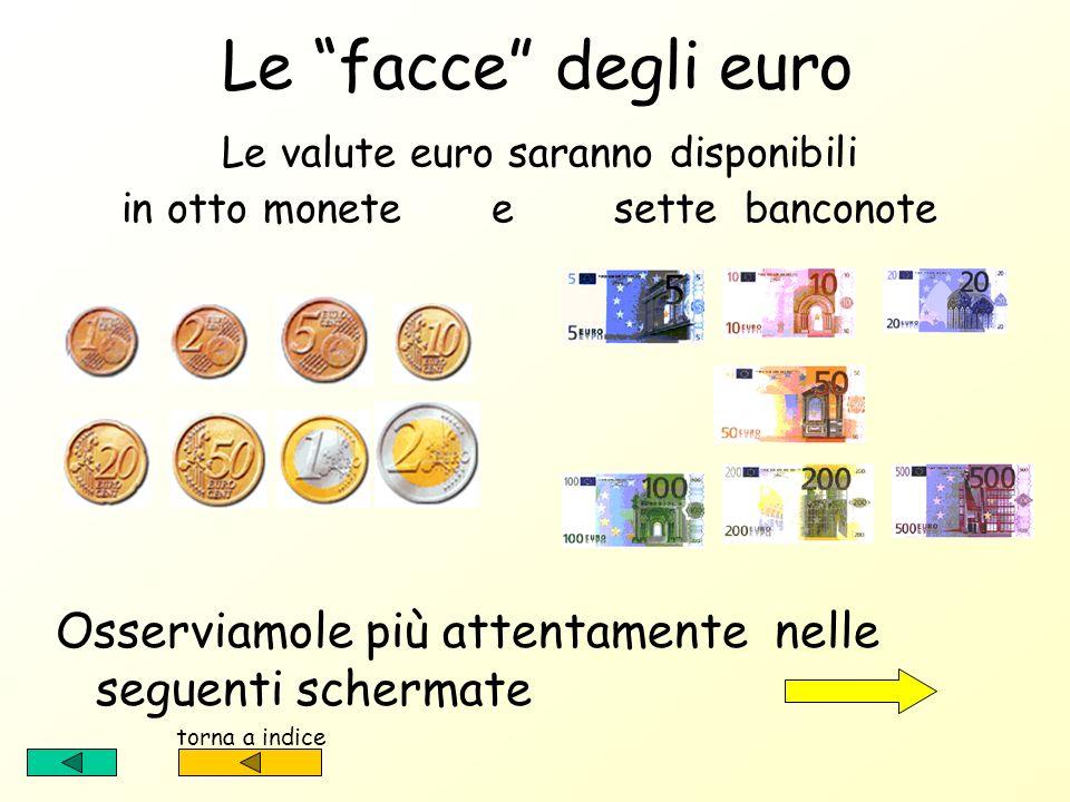 Le facce degli euro Le valute euro saranno disponibili in otto monete e sette banconote