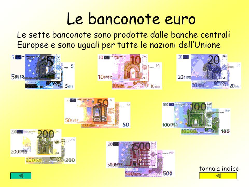 Le banconote euro. Le sette banconote sono prodotte dalle banche centrali Europee e sono uguali per tutte le nazioni dell'Unione.