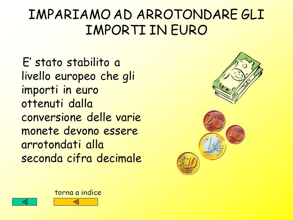 IMPARIAMO AD ARROTONDARE GLI IMPORTI IN EURO