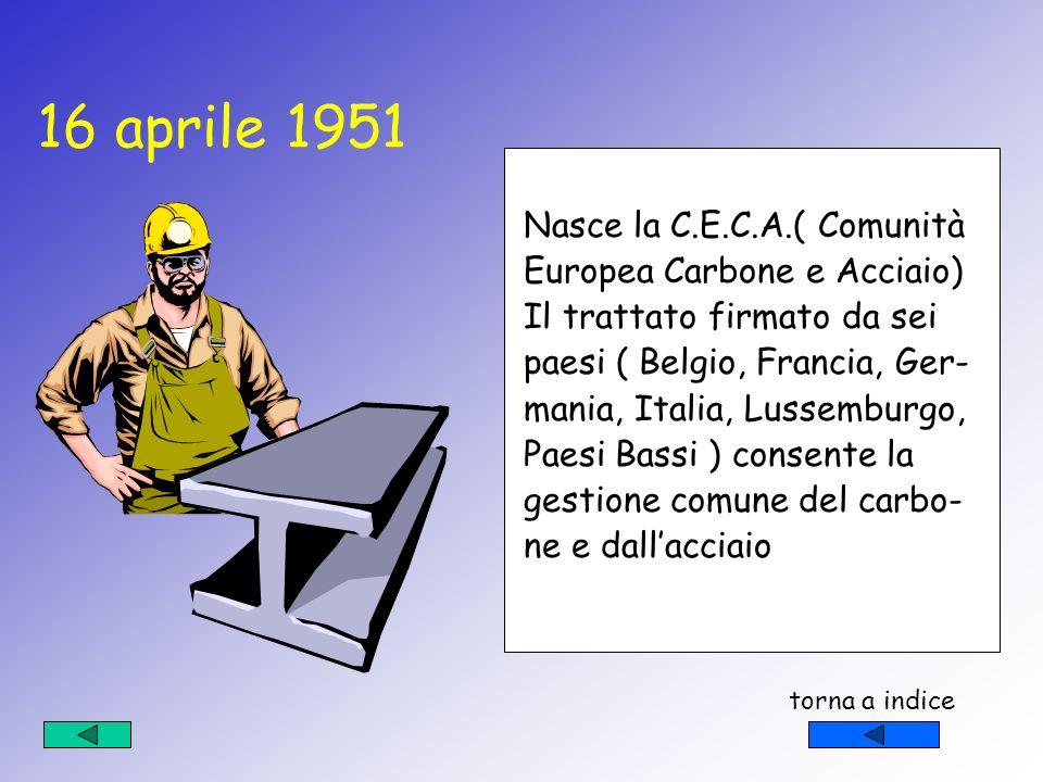 16 aprile 1951 Nasce la C.E.C.A.( Comunità Europea Carbone e Acciaio)