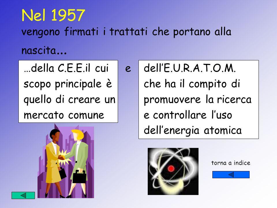 Nel 1957 vengono firmati i trattati che portano alla nascita…