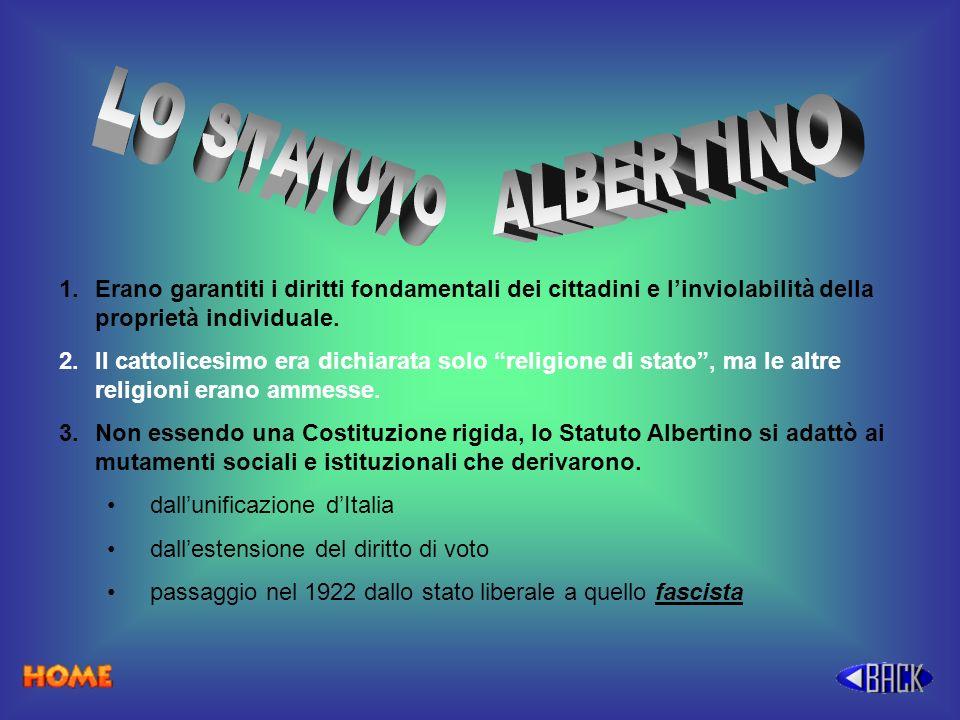 LO STATUTO ALBERTINO. Erano garantiti i diritti fondamentali dei cittadini e l'inviolabilità della proprietà individuale.