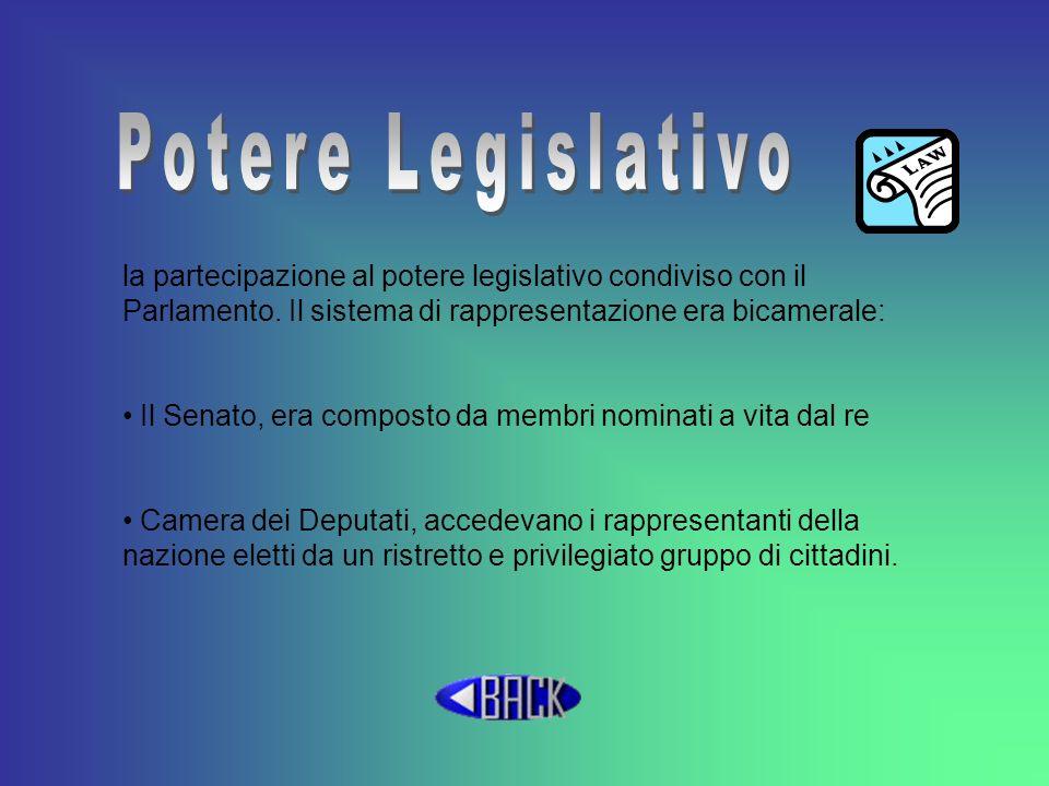 Potere Legislativo la partecipazione al potere legislativo condiviso con il Parlamento. Il sistema di rappresentazione era bicamerale: