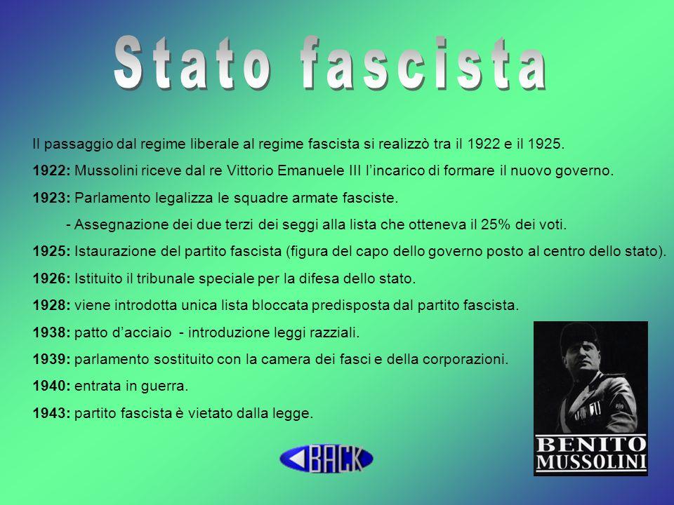 Stato fascista Il passaggio dal regime liberale al regime fascista si realizzò tra il 1922 e il 1925.
